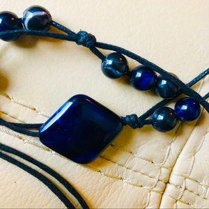 Sapphire Blue Stone Rope Tie Belt Boho Chic Black